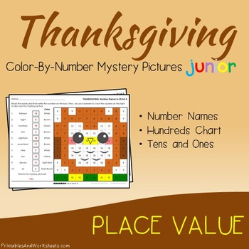 Thanksgiving Color-By-Number: Place Value (K-2)