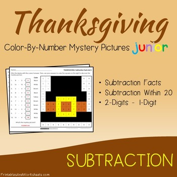 Thanksgiving Color-By-Number: Subtraction (K-2)