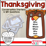 WH Questions and Conversation Prompts: Thanksgiving, Speec