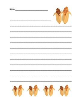 """""""Thanksgiving Corn Friends"""" Writing Sheets  (color)"""