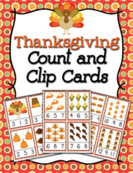 Thanksgiving Count and Clip Cards Numbers 1-12