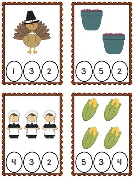 Thanksgiving Counting 1-10 Clothespin Cards {FREEBIE}
