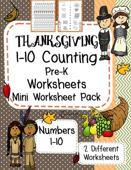 Thanksgiving Counting 1-10 - Fall Themed PreK Worksheet
