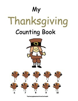 Thanksgiving Counting and Decomposing Practice Book 8 pages