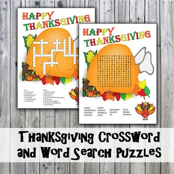 Thanksgiving Crossword Puzzle and Word Search