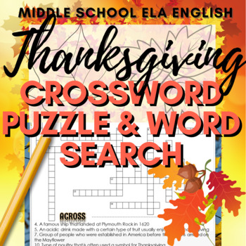 Thanksgiving Crossword Puzzle (with Answer Key)