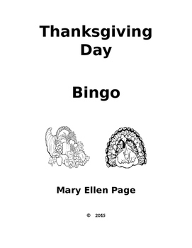 Thanksgiving Day Bingo Game