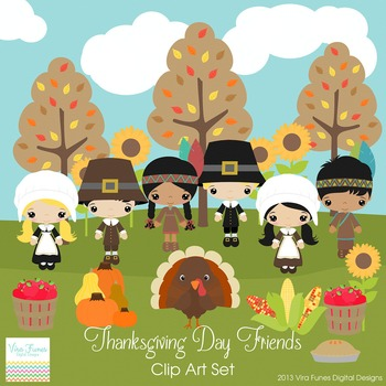 Thanksgiving Day Friends Series clip art