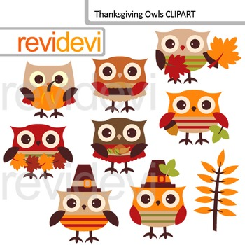 Thanksgiving Day Owls Clip Art / Autumn, fall season / cut