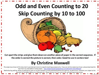 Thanksgiving Day Skip Counting Cut And Glue