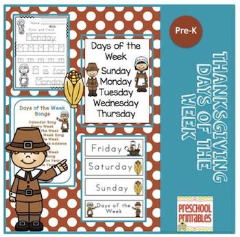 Thanksgiving Days of the Week Printable plus 10 Songs