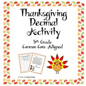 5th Grade Math Decimals Thanksgiving Activity