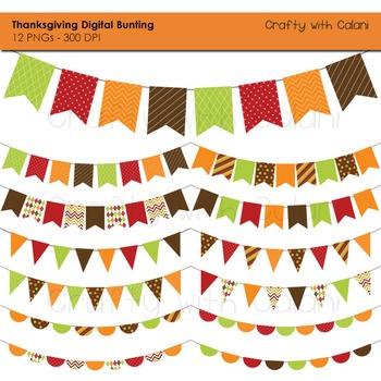 Thanksgiving Digital Bunting, 12 Thanksgiving Bunting clip