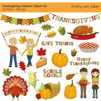 Thanksgiving Digital Clip Art, Thanksgiving Children Clip