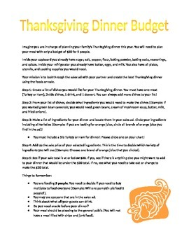 Thanksgiving Dinner Budget Project