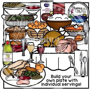 Thanksgiving Dinner Clipart Bundle