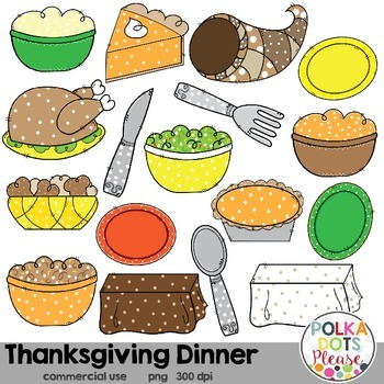 Thanksgiving Dinner Clipart {Graphics for Commercial Use}