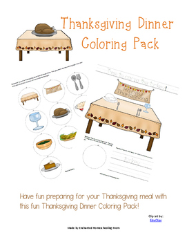 Thanksgiving Dinner Coloring Pack