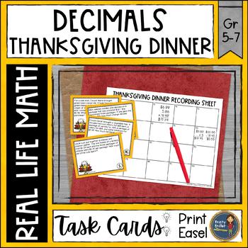 Thanksgiving Math Decimal Task Cards