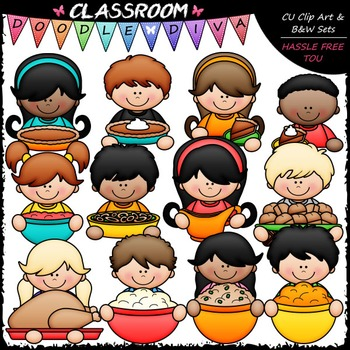 Thanksgiving Dinner Topper Kids Clip Art - Thanksgiving To