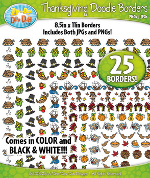 Thanksgiving Doodle Frame Borders Set  — Includes 25 Graphics!