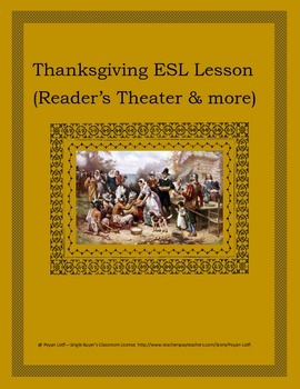 Thanksgiving ESL Lesson (Reader's Theater & more) - Interm