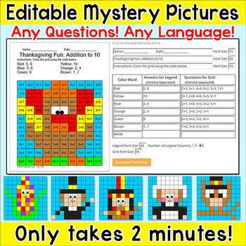 Thanksgiving Editable Mystery Pictures for any Language an