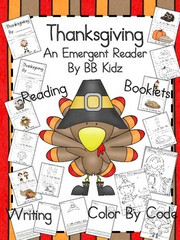 Thanksgiving Emergent Reader with Writing and Color by Cod