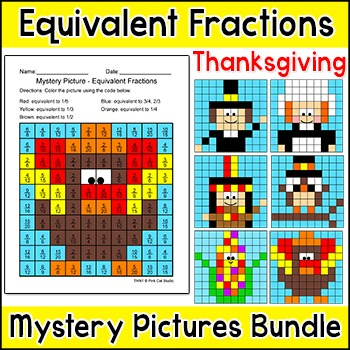 Thanksgiving Math Equivalent Fractions Mystery Pictures
