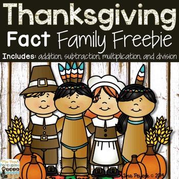 FREEBIE Thanksgiving Fact Family Sheets