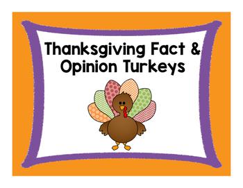 Thanksgiving Fact & Opinion Turkeys