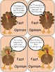 Thanksgiving Turkey Fact and Opinion Task Cards Game for S