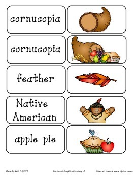 Thanksgiving Vocabulary Cards - Great for ESL kids, writin