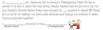 Thanksgiving Feast Note to Parents