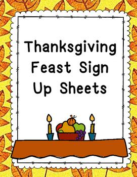 Thanksgiving Feast Sign Up Sheet