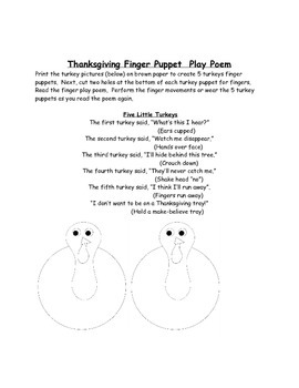 Thanksgiving Finger Puppet Play Poem