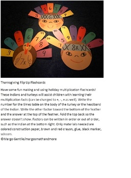 Thanksgiving Flip Up Flashcards; Fun To Make and Use