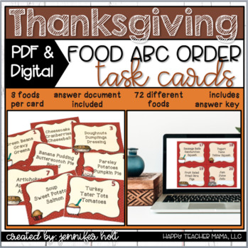 Thanksgiving Food ABC Order {Task Cards}
