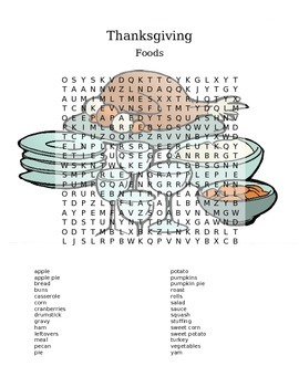 Thanksgiving Foods Word Search