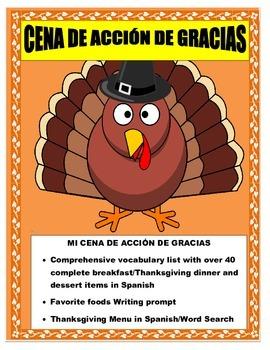 Thanksgiving Foods in Spanish- Mi Cena de Acción de Gracia