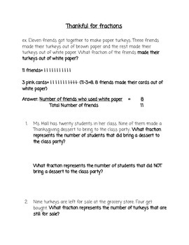 Thanksgiving Fraction Word Problems