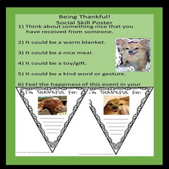 Thanksgiving Rescue Dogs'  Being Thankful WORKSHEETS ONLY!