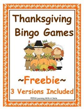 Thanksgiving Freebie ~ Bingo-Style Word Game ~ Cut & Paste