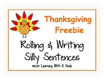 Thanksgiving Freebie ~ Rolling & Writing Silly Sentences ~