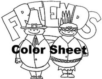 "Thanksgiving ""Friends"" Color Sheet"