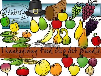 Thanksgiving Fruit and Vegetable Clip Art - Color and Line