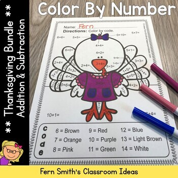 Color By Numbers Thanksgiving Math Addition and Subtractio
