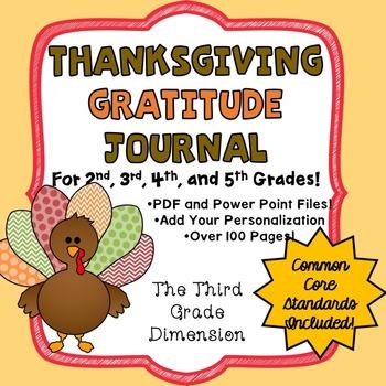 Thanksgiving Gratitude Journal Writing Activity