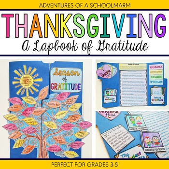 Thanksgiving Activity - Gratitude Lapbook with Writing Prompts