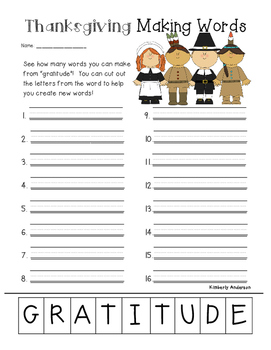 Freebie: Thanksgiving Gratitude Making Words Activity
